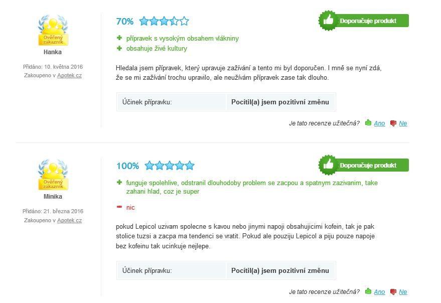 Lepicol Plus hodnotenie