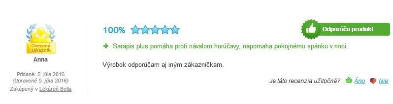 Sarapis Plus hodnotenie