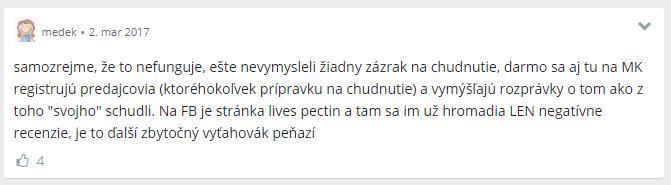 Lives Pectin reakcie užívateľov