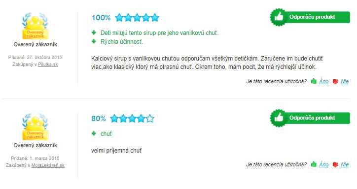 Kalciový sirup recenzie