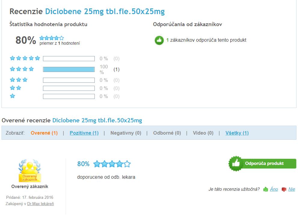 Hodnotenia užívateľov Diclobene tablety na Heureka.sk