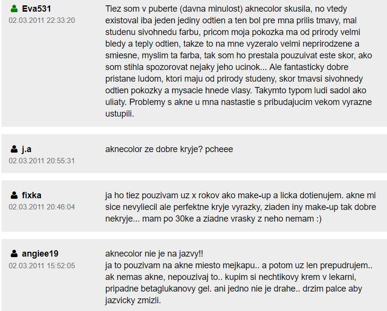 Skúsenosti s Aknecolor na Zdravie.sk