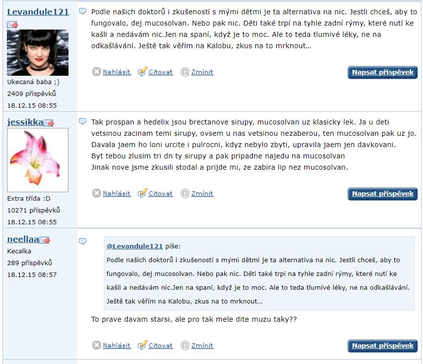 Mucosolvan Junior - diskusia Emimino