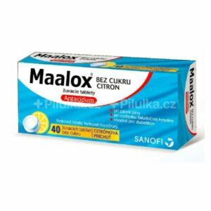 Maalox bez cukru citron  40 ks