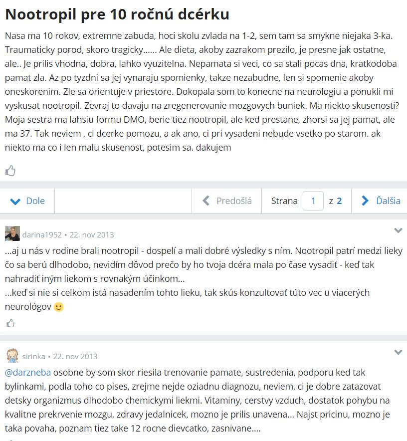 Nootropil - diskusia