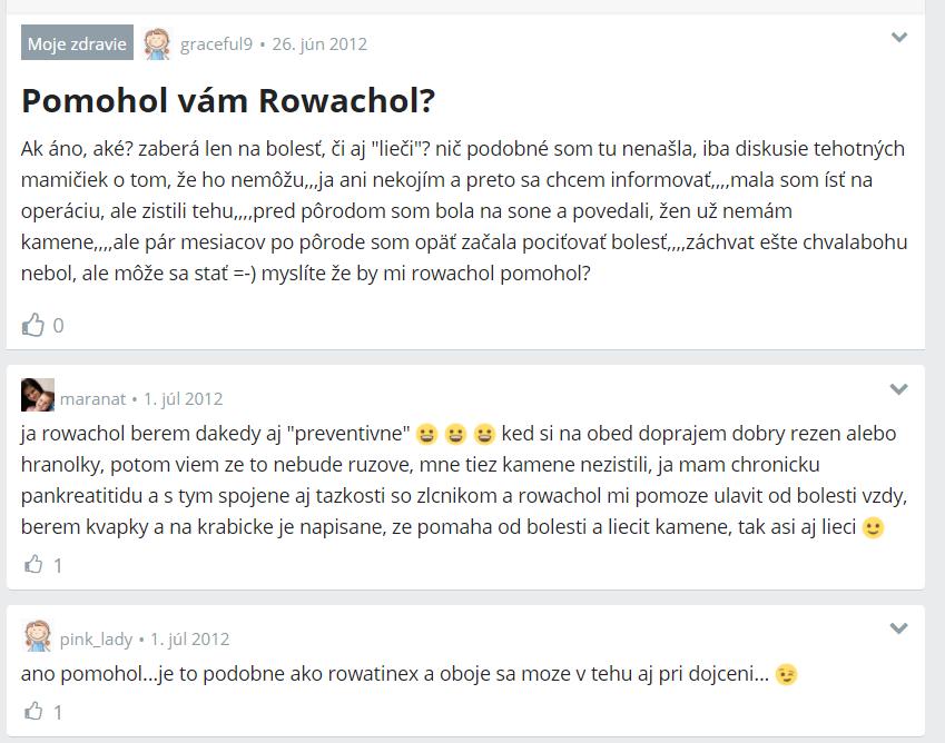 Rowachol - diskusia