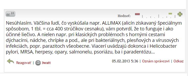 Allimax - diskusia
