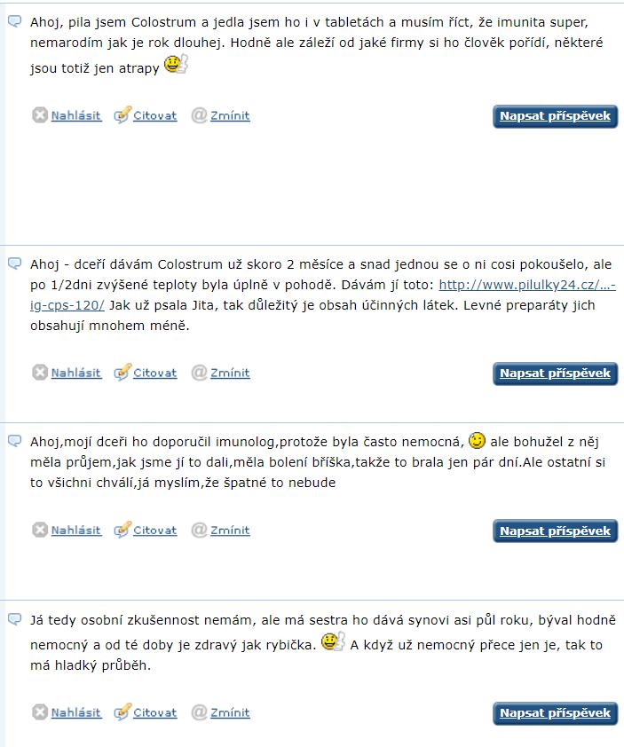 Kolostrum - diskusia