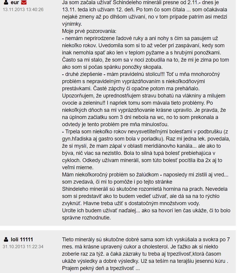 Schindeleho minerály - diskusia