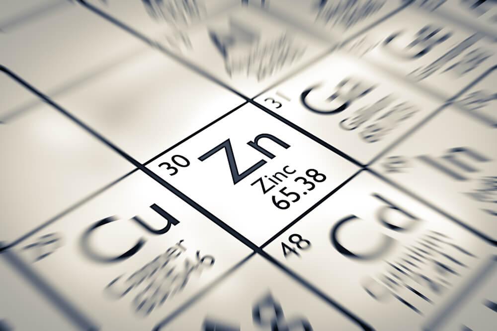 Zinok v periodickej tabuľke ako Zn