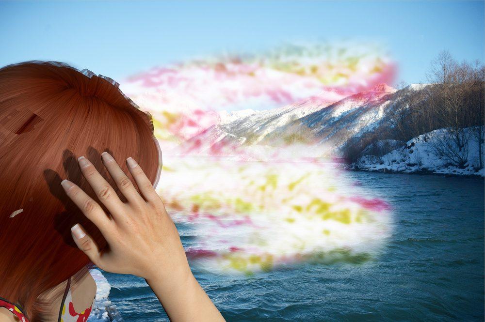 Digitálne zobrazenie aury na začiatku migrenóznej bolesti hlavy