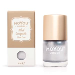 Pečiatkovací lak na nechty – Silver Dust 9ml