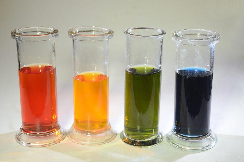 Farebne odlíšené pH od kyslého červeného po zásadité modré.