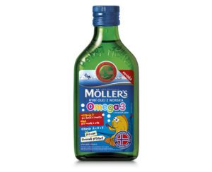 Möller`s rybí olej z tresčej pečene z Nórska s prírodnou ovocnou príchuťou 250 ml