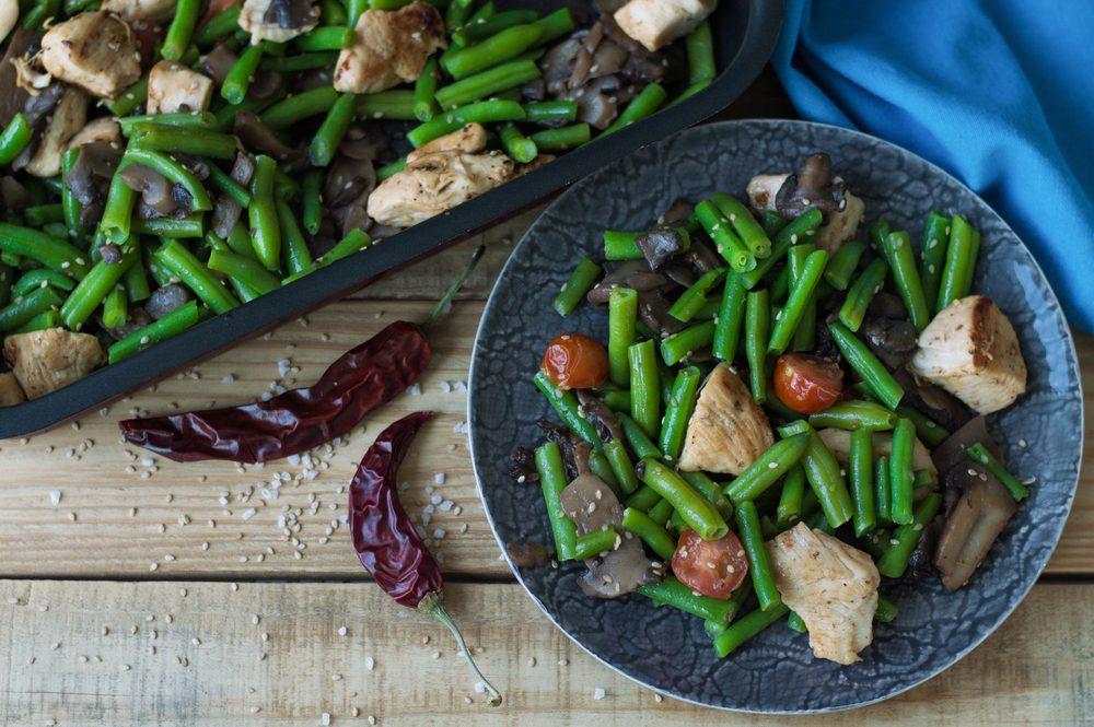 kuracie mäso a zelenina - jedálniček pri sacharidových vlnách