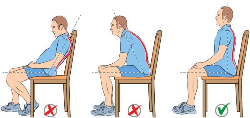 Správna poloha pri sedení