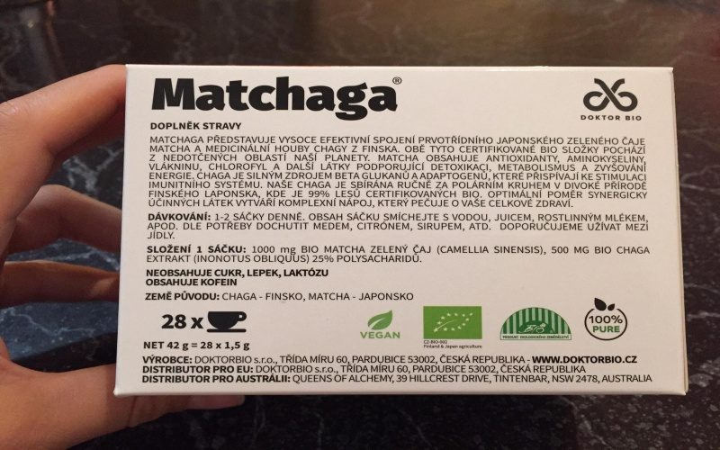 Informácie o Matchaga na krabičke