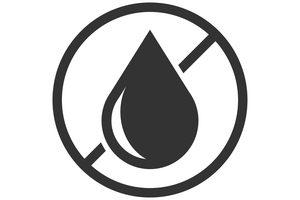 ikona s kvapkou vody prečiarknutou v kruhu
