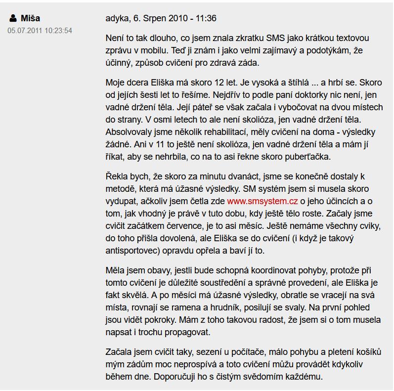 skúsenosti s cvičením sm systém z portálu forum.zdravie.sk