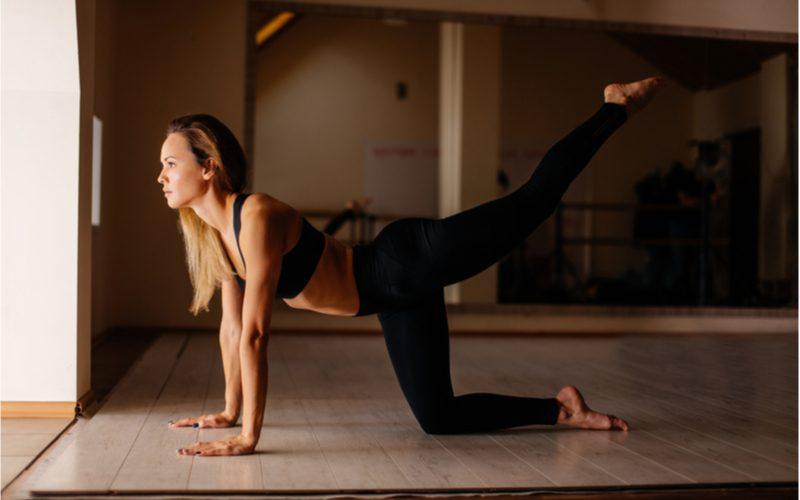 žena na štyroch s natiahnutou zadnou nohou - cvik na chudnutie zo stehien