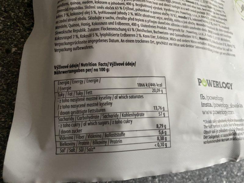 Výživové hodnoty 100 gramov granoly